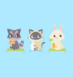 cute baby animals baby raccoon kitten bunny vector image