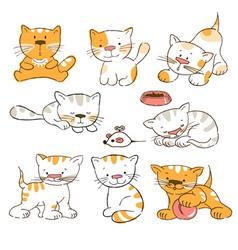 Funny cartoon kitten vector