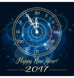 Happy new year blue clock background vector image vector image