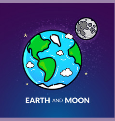 planet earth with the moon vector image vector image