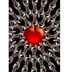 Red heart with bottles of wine vector image vector image