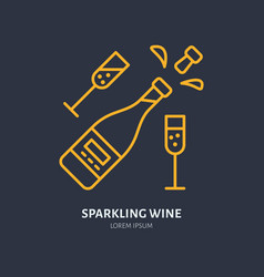 sparkling wine in bottle and two wineglasses line vector image