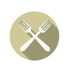 two forks crossed icon vector image