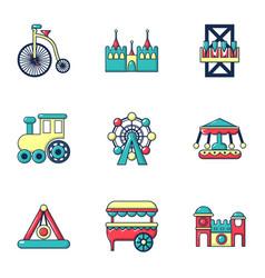entertainment park icons set flat style vector image