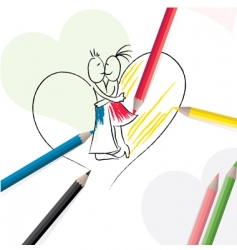 pencils with sketch of couple vector image vector image