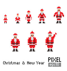pixel santa with blue horse vector image vector image