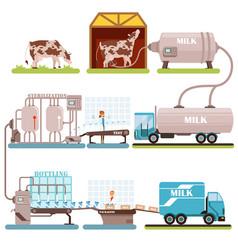 Production of milk set milk industry cartoon vector
