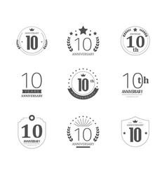 10 years anniversary logo set 10th anniversary vector