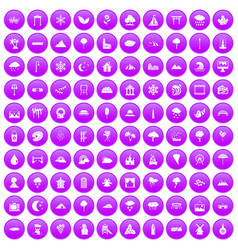 100 scenery icons set purple vector