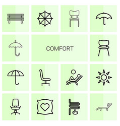 14 comfort icons vector image