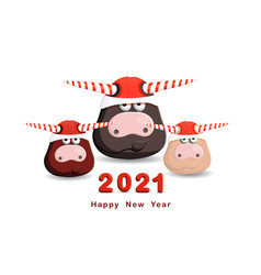 2021 year funny bulls isolated on white vector image