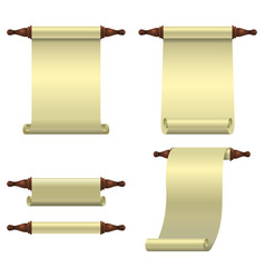 A set of 3 empty scrolls unfolded vertically one vector