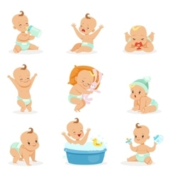 Adorable happy baand his daily routine series vector
