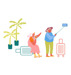 aged female couple making selfie in exotic country vector image
