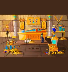 Ancient egypt tomb pharaoh cartoons vector