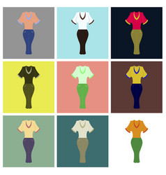 Assembly flat icons women pants and shirt vector