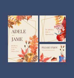 Autumn daily template design for wedding card and vector