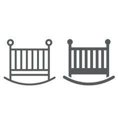 baby crib line and glyph icon child and bed vector image