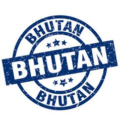 Bhutan blue round grunge stamp vector