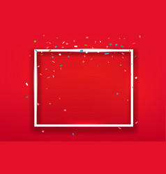 blank square frame on red background layout for vector image