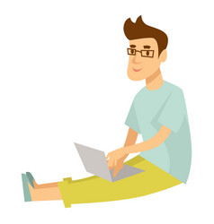 blogger or vlogger man typing review on vector image