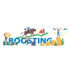 Boosting concept people trading on bull stock vector