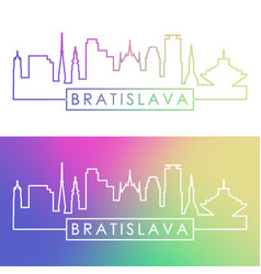 bratislava skyline colorful linear style vector image