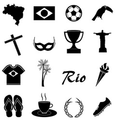 Brazil icons set vector image