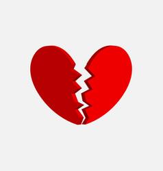 broken heart icon two red halves broken heart vector image