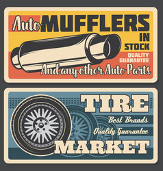 Car mufflers and tire market vector