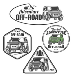 Car off-road 4x4 suv trophy truck logo set vector