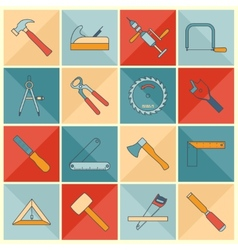 Carpentry tools flat line icons vector image