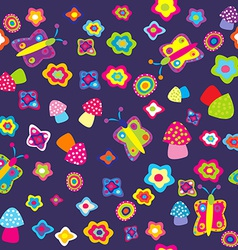 Childish background with flowers butterflies and vector image