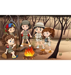 Children circle around the campfire in the woods vector