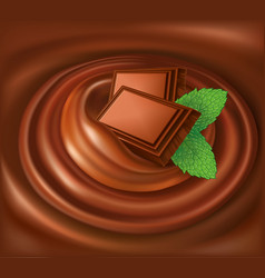 Chocolate background swirl with mint leaf vector