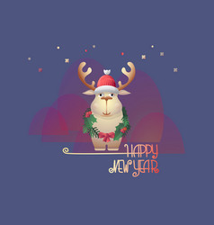 christmas deer and handwritten words happy new vector image
