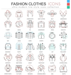 Clothes shoes color line outline icons for vector