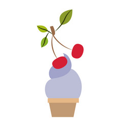 colorful silhouette of ice cream cup with cherry vector image