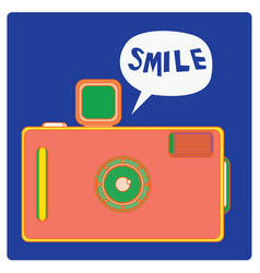Colorful vintage camera with smile face vector