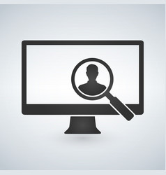 computer monitor and magnifying glass searching vector image