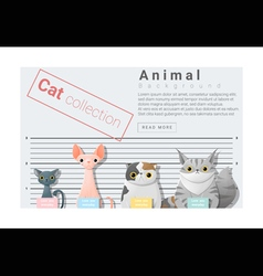 Cute animal family background with Cats 4 vector image