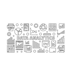 Data analytics concept line vector