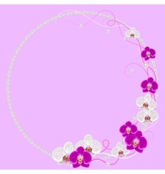 Delicate frame with orchid flowers and pearls on vector image