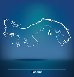 Doodle Map of Panama vector image