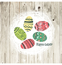 easter nest on wooden texture vector image