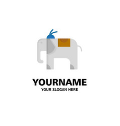 elephant animal business logo template flat color vector image