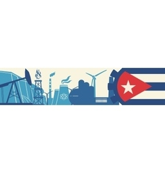 Energy and Power icons set Cuba flag vector