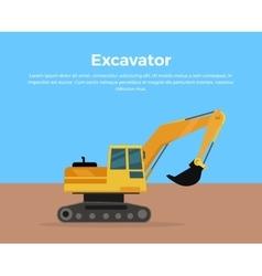 Excavator Banner Flat Design vector