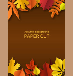 fall leaves banner autumn border paper cut vector image