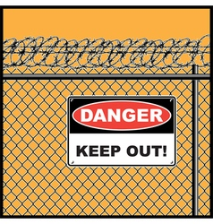 fence and barbed wire vector image